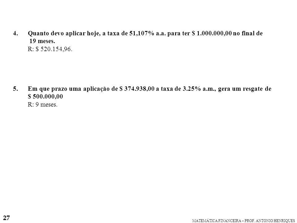 Quanto devo aplicar hoje, a taxa de 51,107% a. a. para ter $ 1. 000