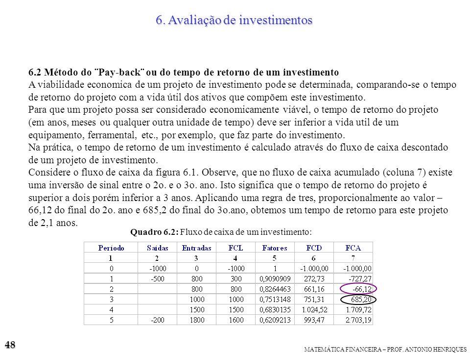 6. Avaliação de investimentos