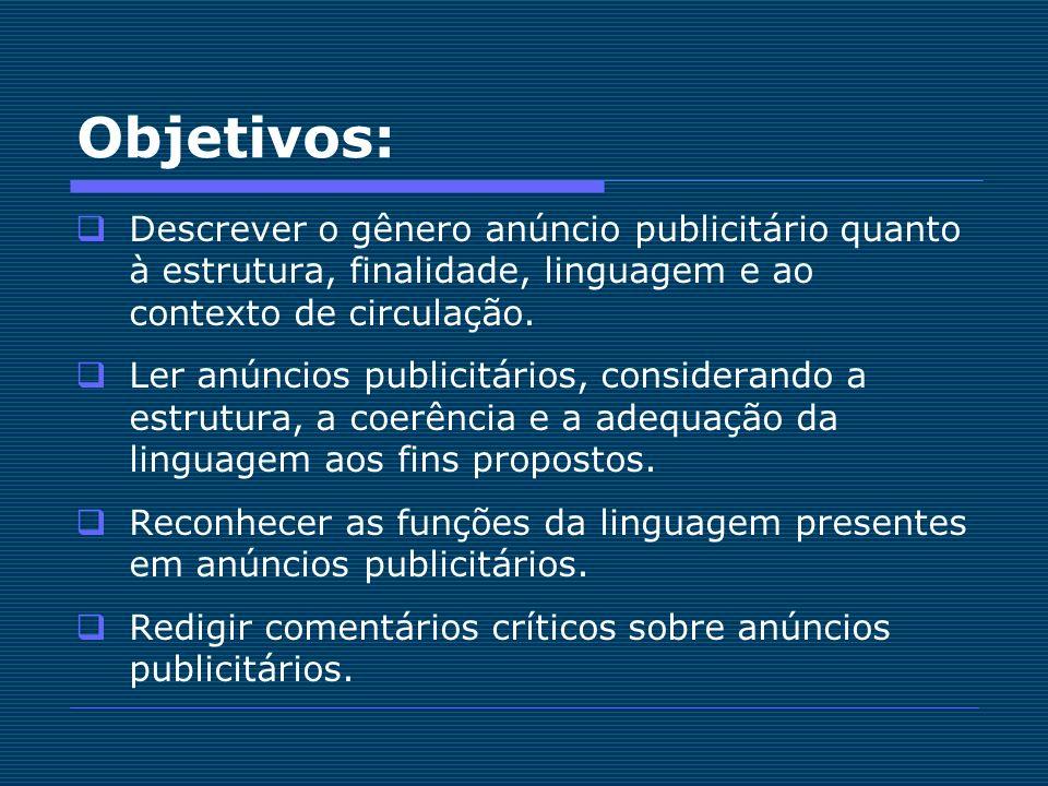 Objetivos: Descrever o gênero anúncio publicitário quanto à estrutura, finalidade, linguagem e ao contexto de circulação.