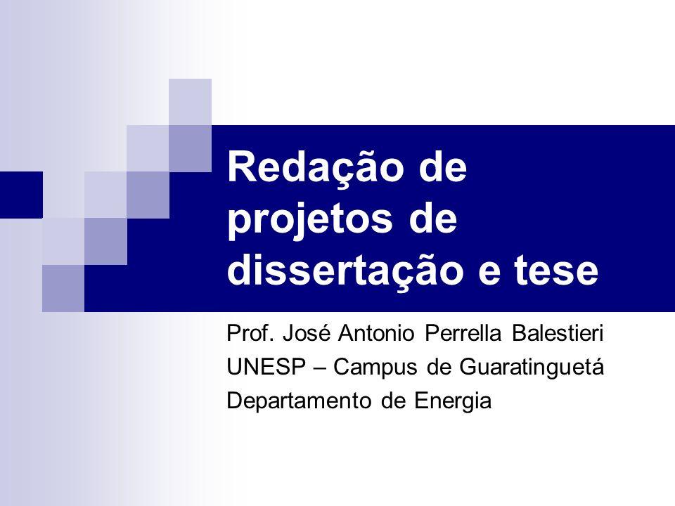 Redação de projetos de dissertação e tese