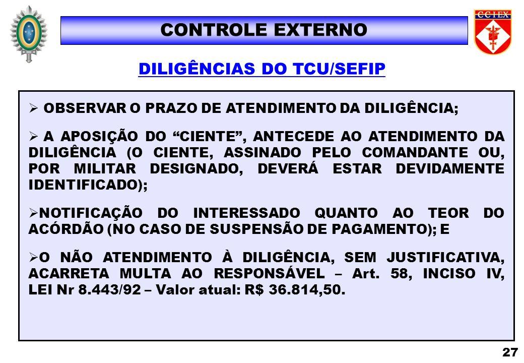 DILIGÊNCIAS DO TCU/SEFIP