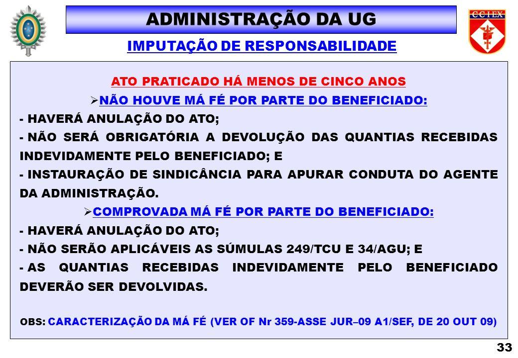 ADMINISTRAÇÃO DA UG IMPUTAÇÃO DE RESPONSABILIDADE