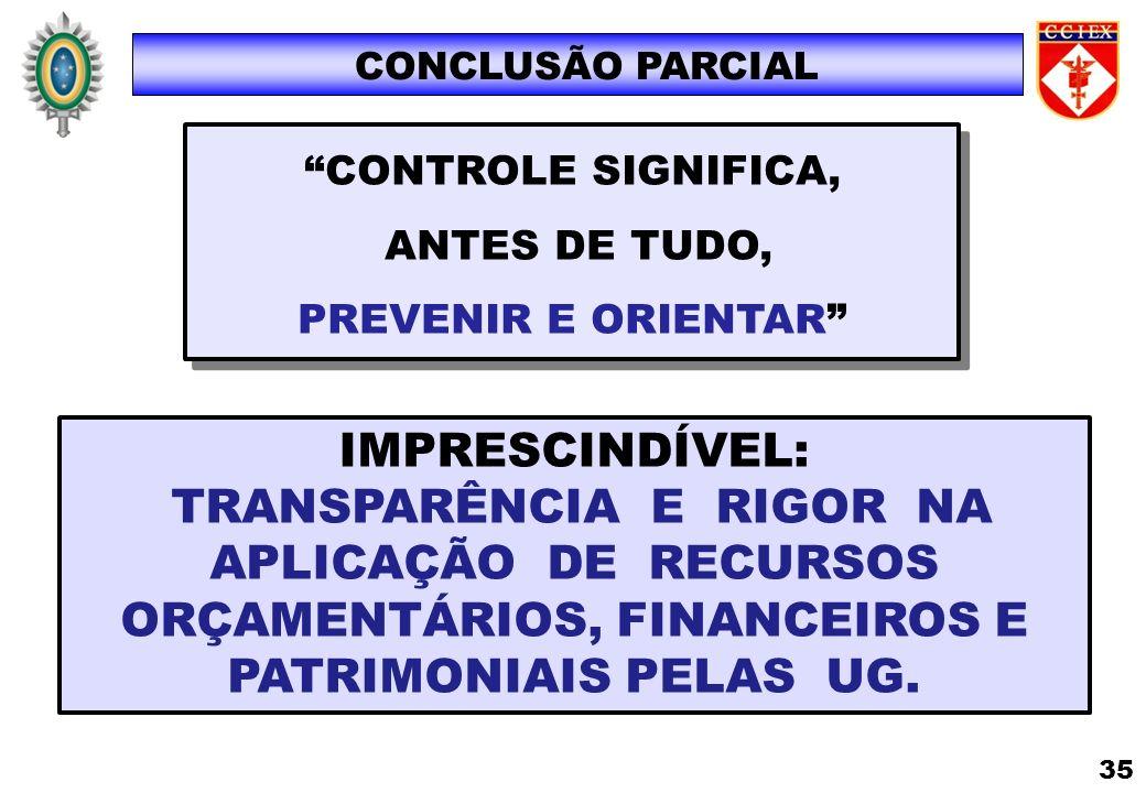 CONCLUSÃO PARCIAL CONTROLE SIGNIFICA, ANTES DE TUDO, PREVENIR E ORIENTAR IMPRESCINDÍVEL:
