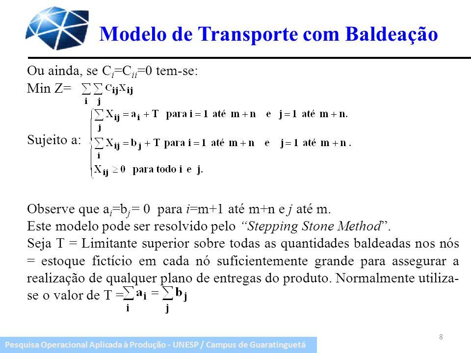 Modelo de Transporte com Baldeação