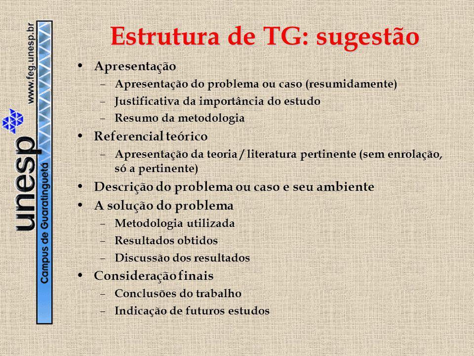 Estrutura de TG: sugestão