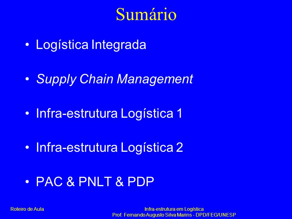 Sumário Logística Integrada Supply Chain Management