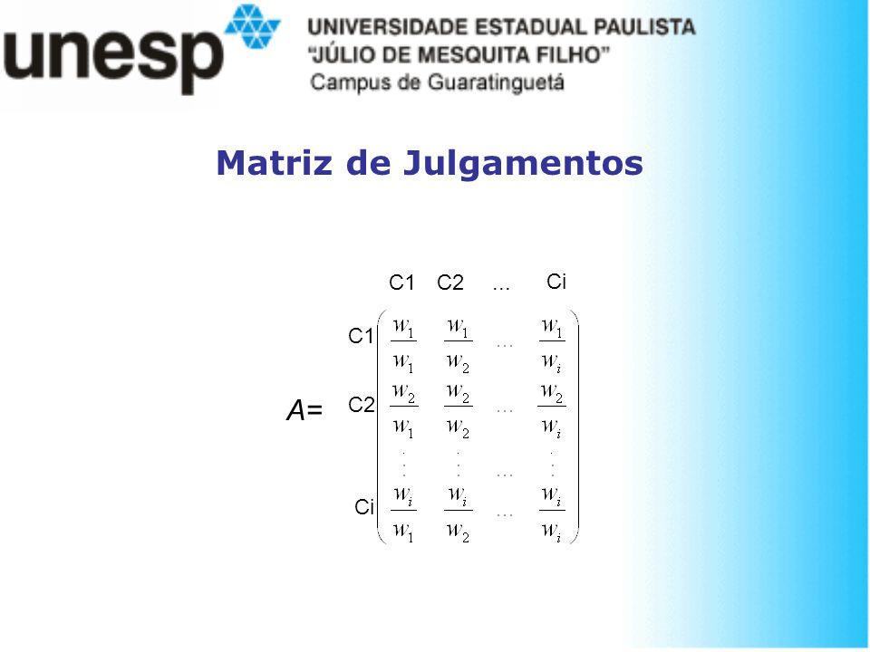 Matriz de Julgamentos C1 C2 ... Ci C1 A= C2 Ci