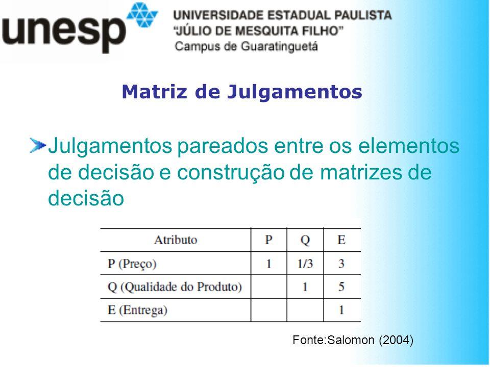 Matriz de Julgamentos Julgamentos pareados entre os elementos de decisão e construção de matrizes de decisão.