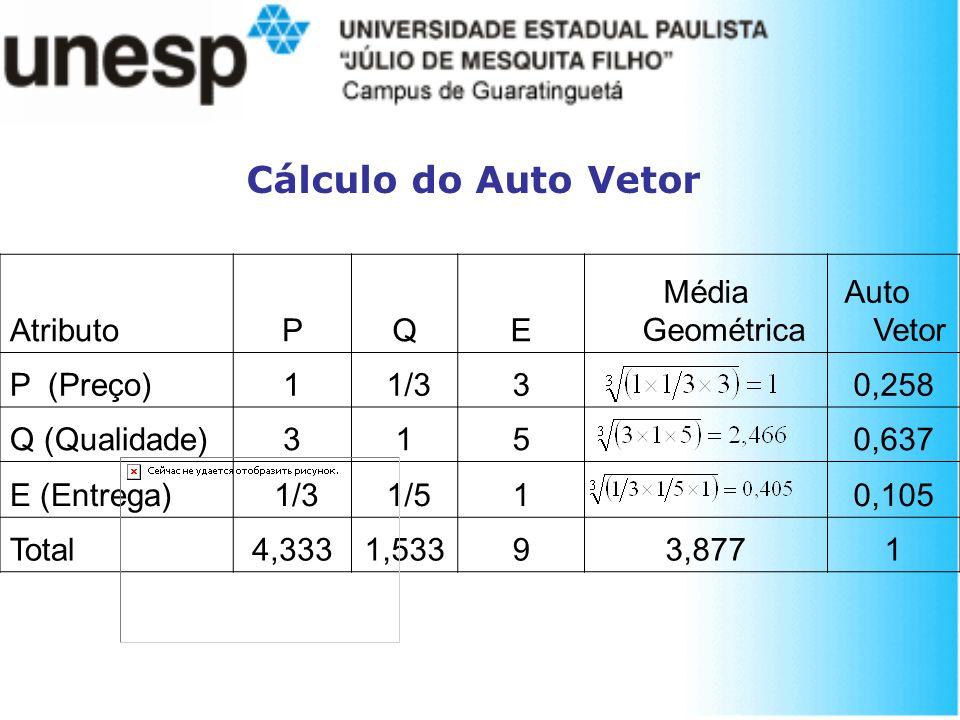 Cálculo do Auto Vetor Atributo P Q E Média Geométrica Auto Vetor