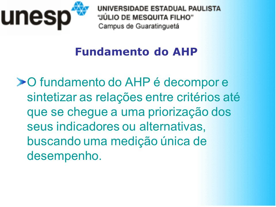 Fundamento do AHP