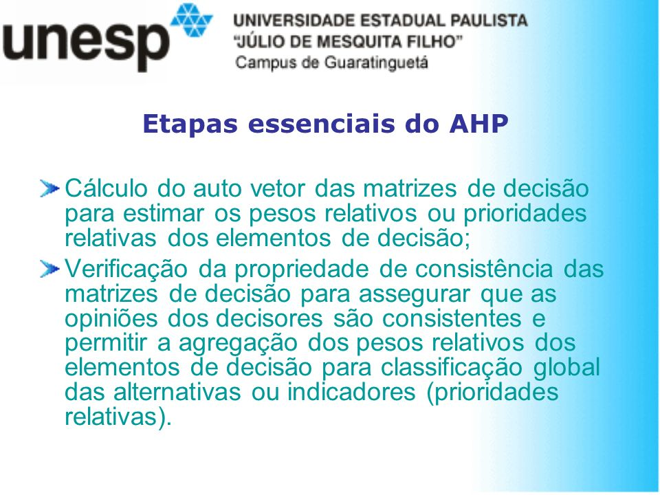 Etapas essenciais do AHP