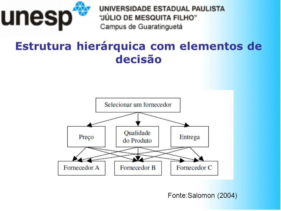 Estrutura hierárquica com elementos de decisão