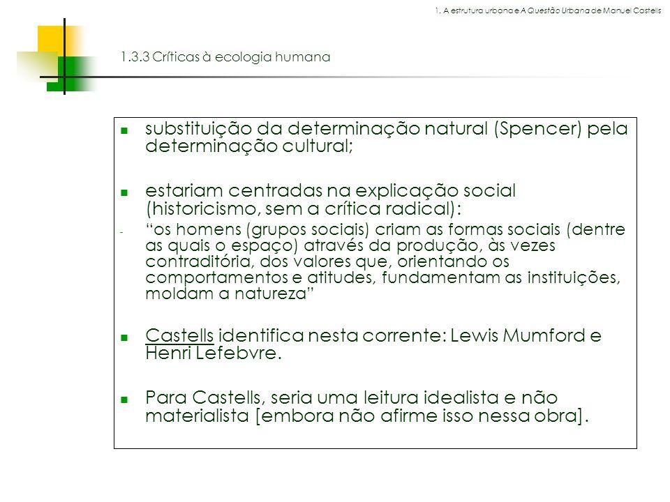 1.3.3 Críticas à ecologia humana