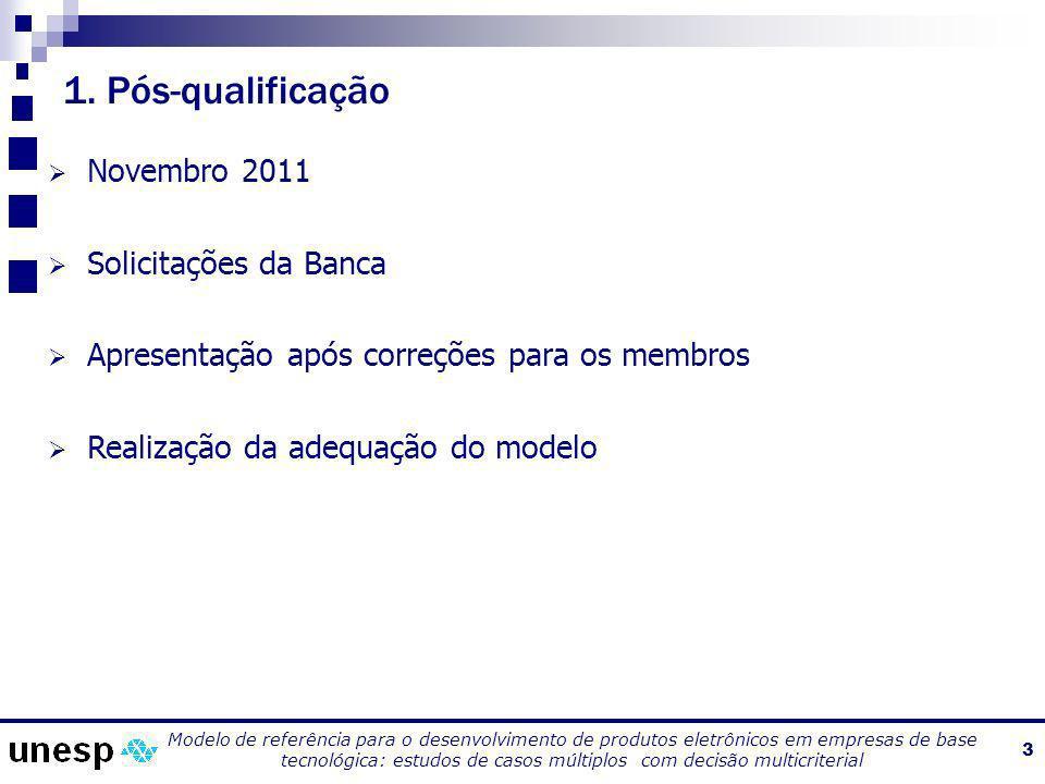 1. Pós-qualificação Novembro 2011 Solicitações da Banca