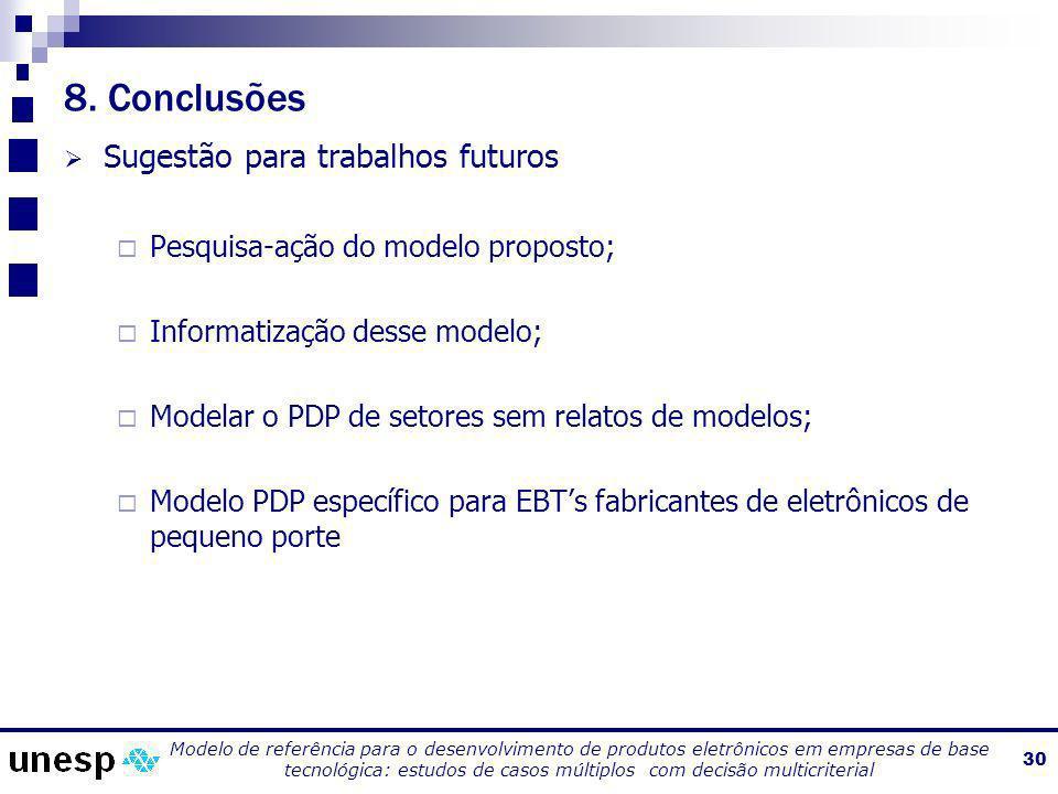 8. Conclusões Sugestão para trabalhos futuros