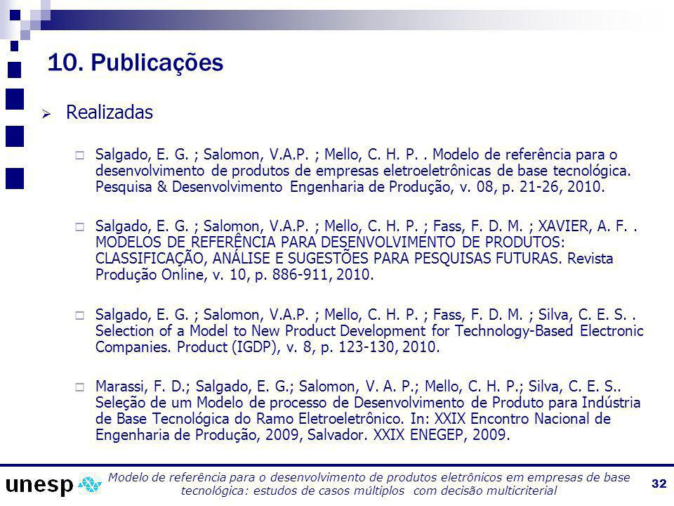 10. Publicações Realizadas