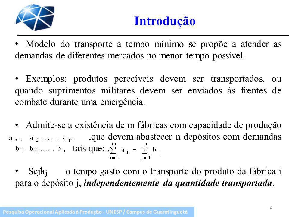Introdução Modelo do transporte a tempo mínimo se propõe a atender as demandas de diferentes mercados no menor tempo possível.