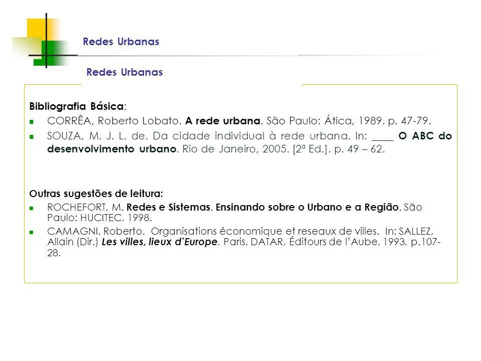 Redes Urbanas Redes Urbanas Bibliografia Básica: