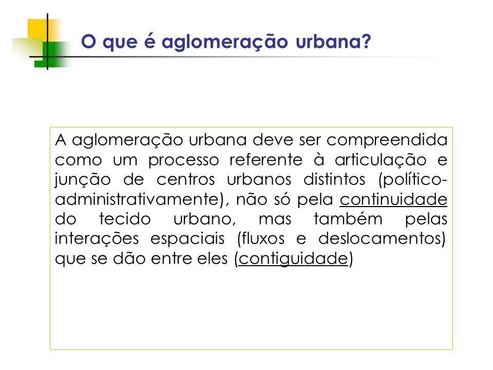 O que é aglomeração urbana