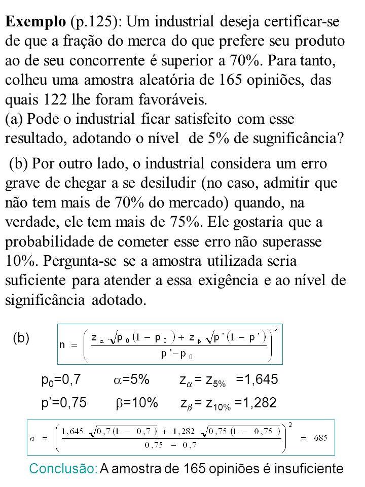 Exemplo (p.125): Um industrial deseja certificar-se de que a fração do merca do que prefere seu produto ao de seu concorrente é superior a 70%. Para tanto,