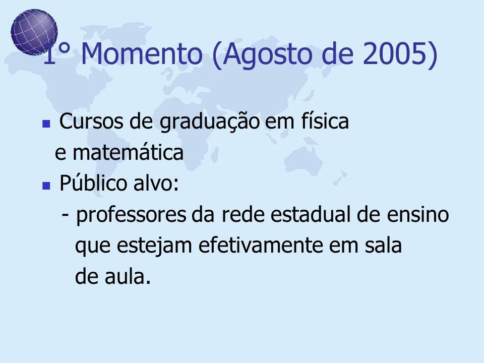 1° Momento (Agosto de 2005) Cursos de graduação em física e matemática