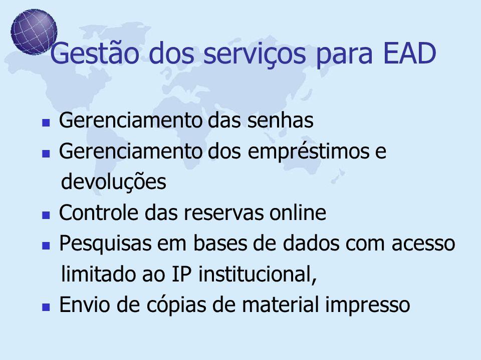 Gestão dos serviços para EAD