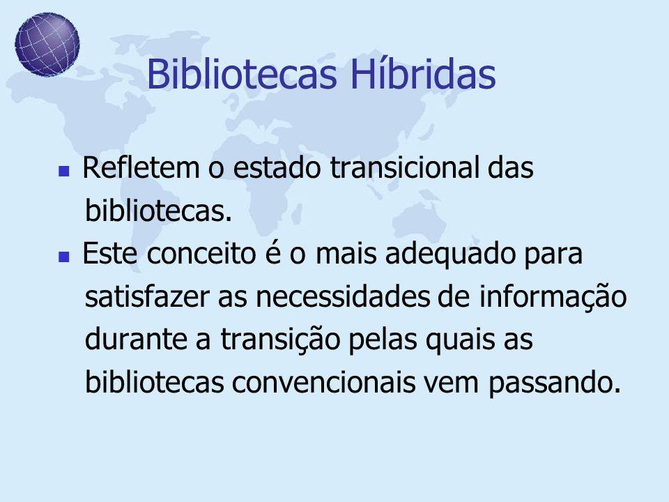 Bibliotecas Híbridas Refletem o estado transicional das bibliotecas.