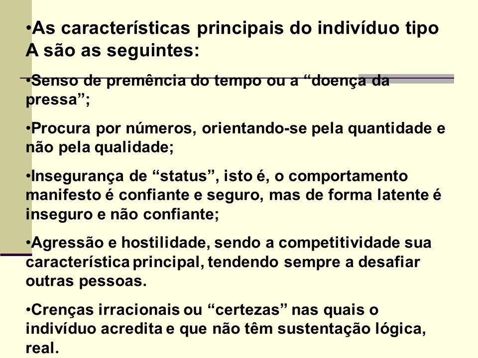 As características principais do indivíduo tipo A são as seguintes: