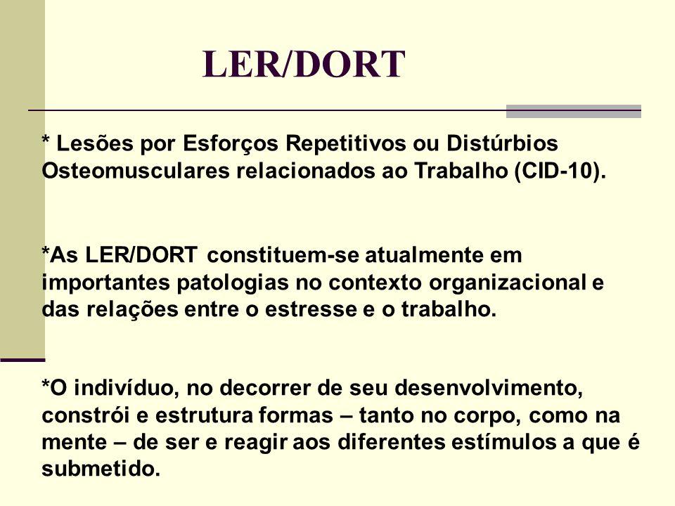 LER/DORT * Lesões por Esforços Repetitivos ou Distúrbios Osteomusculares relacionados ao Trabalho (CID-10).