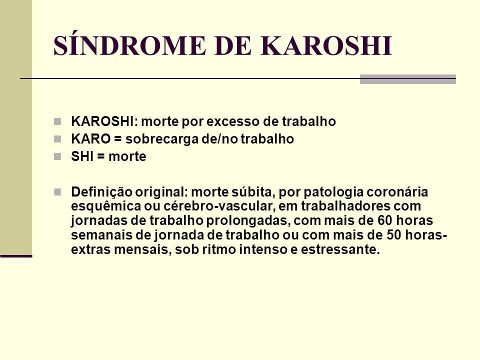 SÍNDROME DE KAROSHI KAROSHI: morte por excesso de trabalho