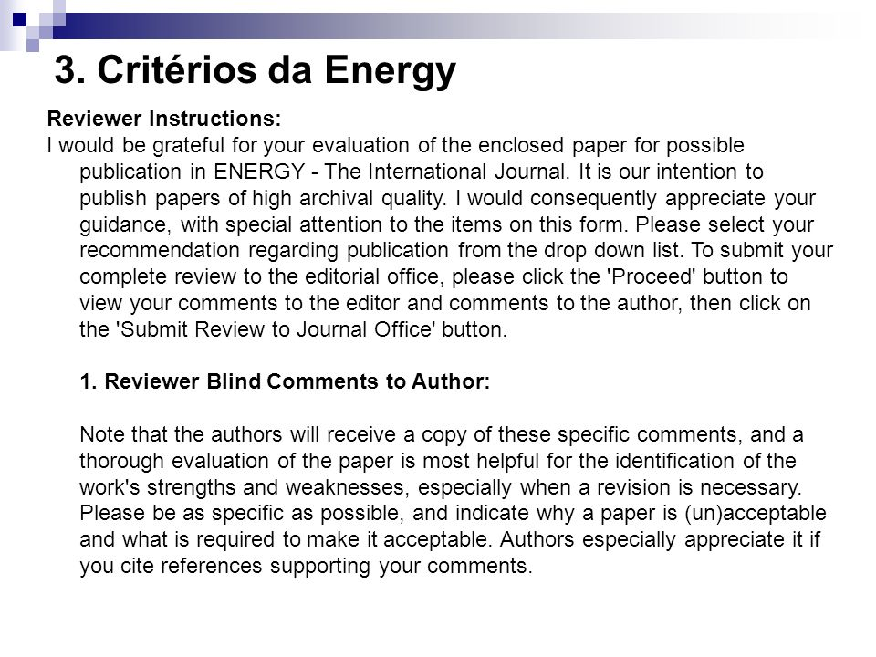 3. Critérios da Energy Reviewer Instructions: