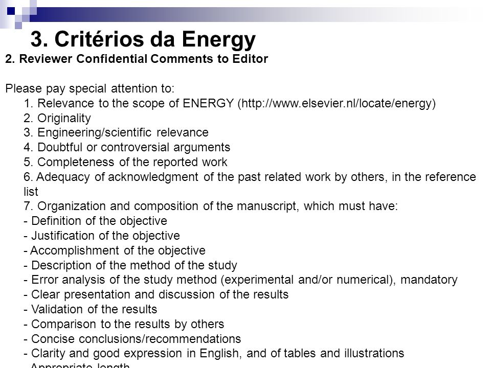 3. Critérios da Energy 2. Reviewer Confidential Comments to Editor
