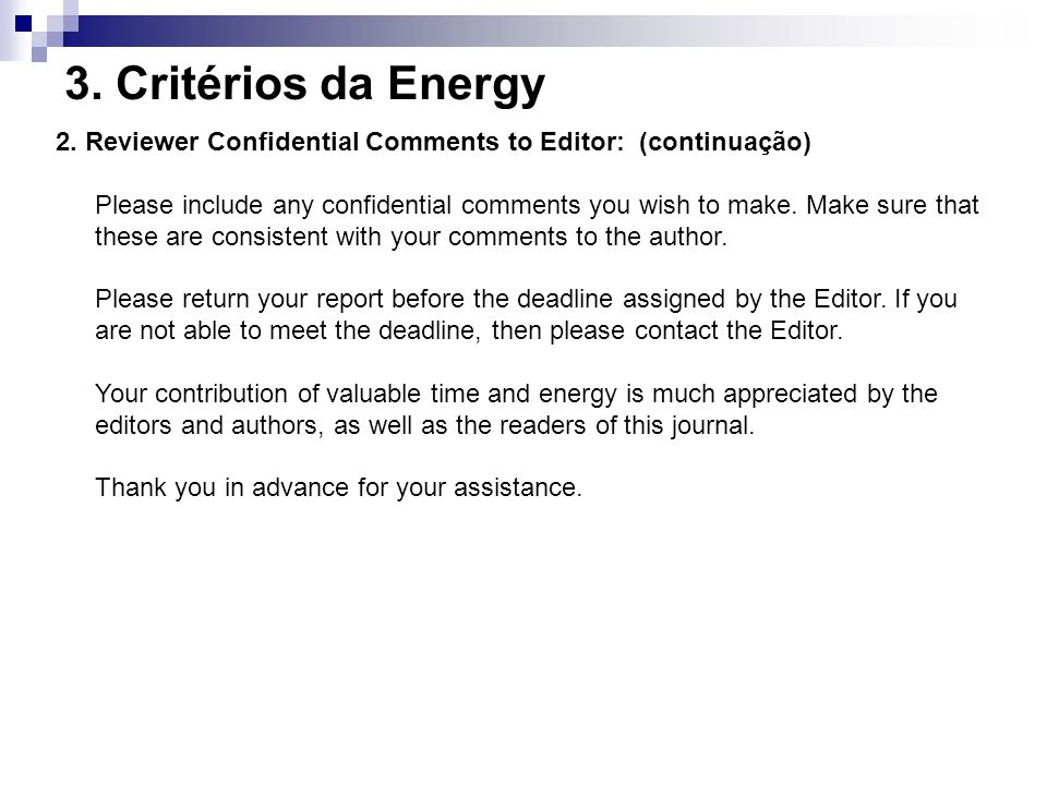 3. Critérios da Energy 2. Reviewer Confidential Comments to Editor: (continuação)