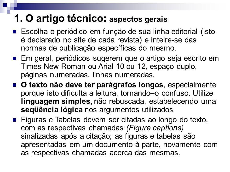 1. O artigo técnico: aspectos gerais