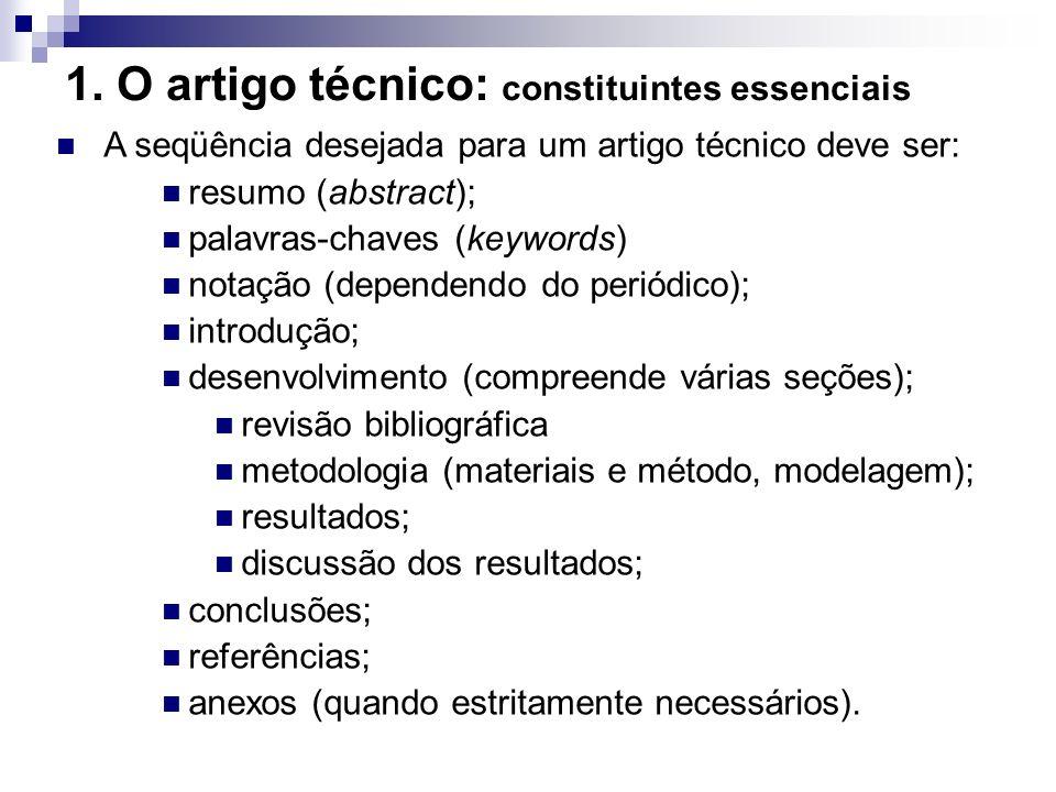 1. O artigo técnico: constituintes essenciais