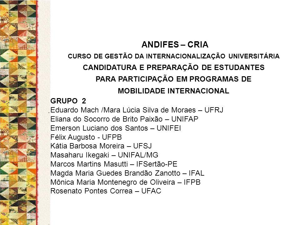 ANDIFES – CRIA CANDIDATURA E PREPARAÇÃO DE ESTUDANTES