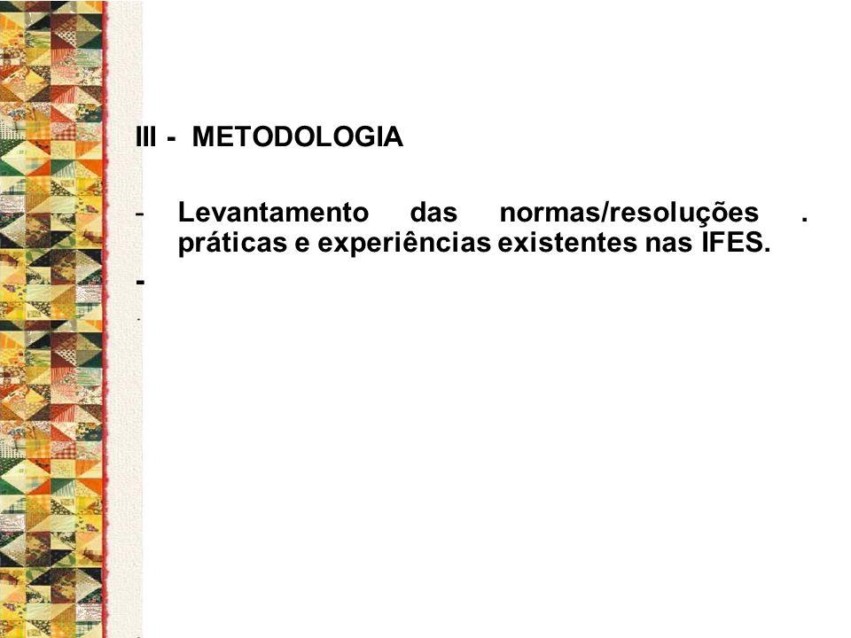 III - METODOLOGIA Levantamento das normas/resoluções . práticas e experiências existentes nas IFES.