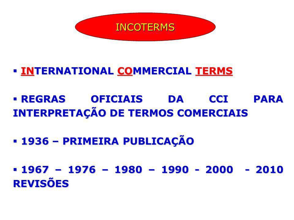 INCOTERMS INTERNATIONAL COMMERCIAL TERMS. REGRAS OFICIAIS DA CCI PARA INTERPRETAÇÃO DE TERMOS COMERCIAIS.