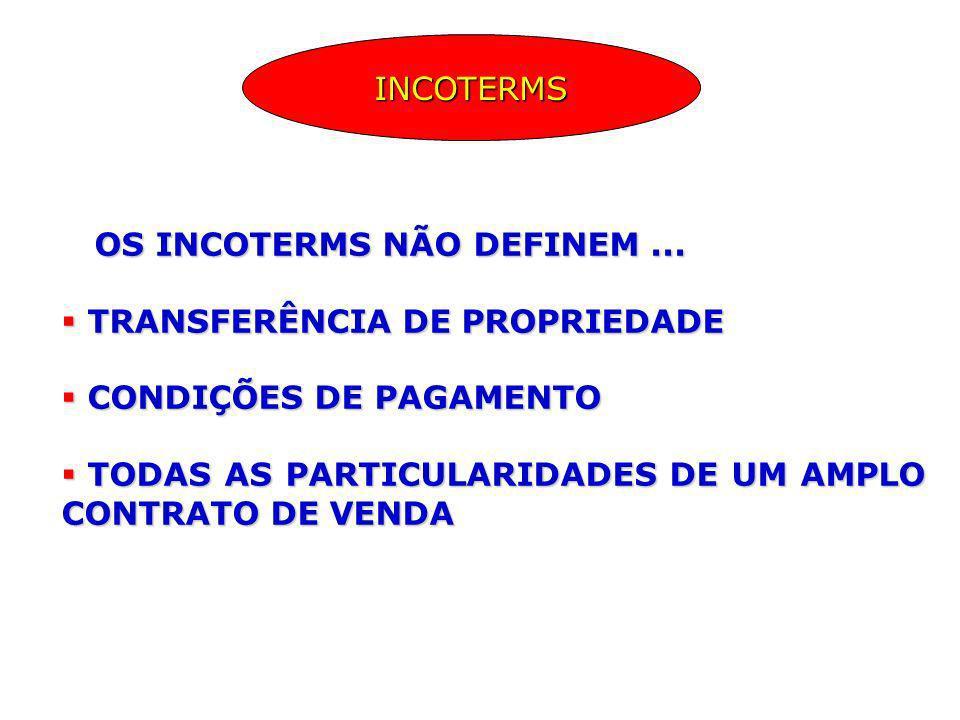 INCOTERMS OS INCOTERMS NÃO DEFINEM ... TRANSFERÊNCIA DE PROPRIEDADE. CONDIÇÕES DE PAGAMENTO.