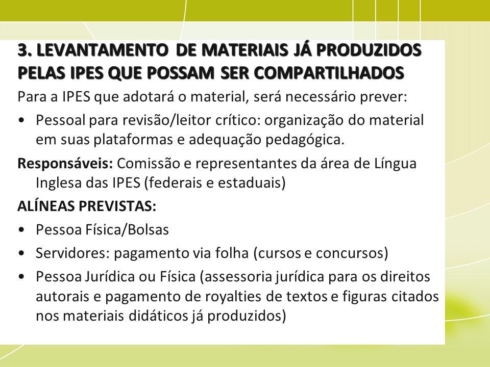 3. LEVANTAMENTO DE MATERIAIS JÁ PRODUZIDOS PELAS IPES QUE POSSAM SER COMPARTILHADOS