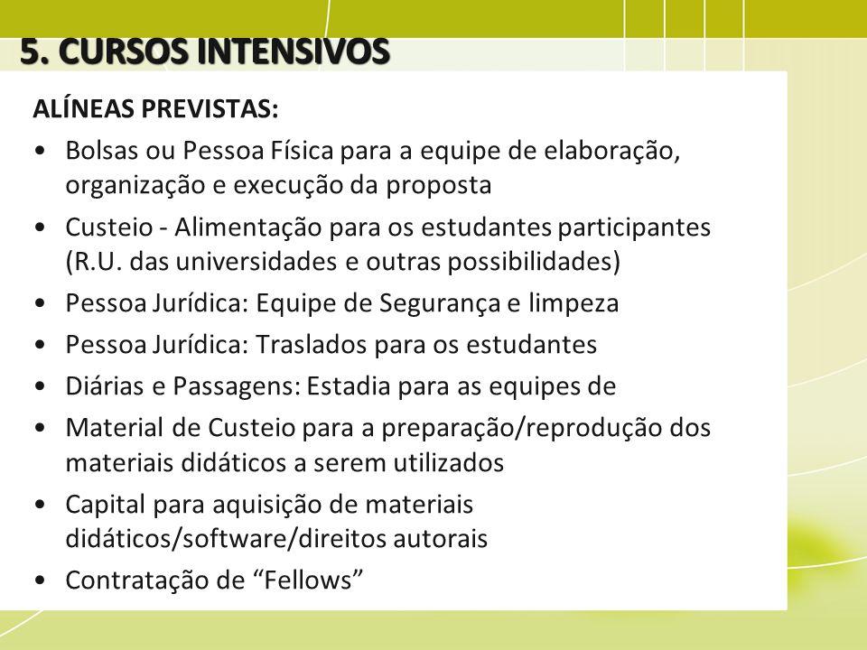 5. CURSOS INTENSIVOS ALÍNEAS PREVISTAS: