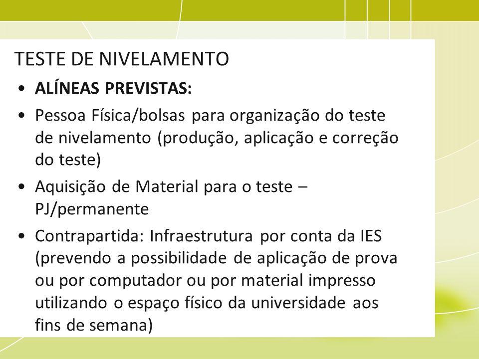TESTE DE NIVELAMENTO ALÍNEAS PREVISTAS: