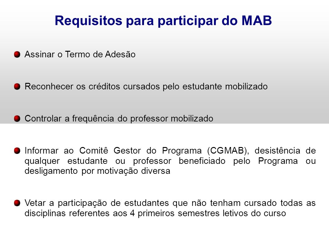 Requisitos para participar do MAB