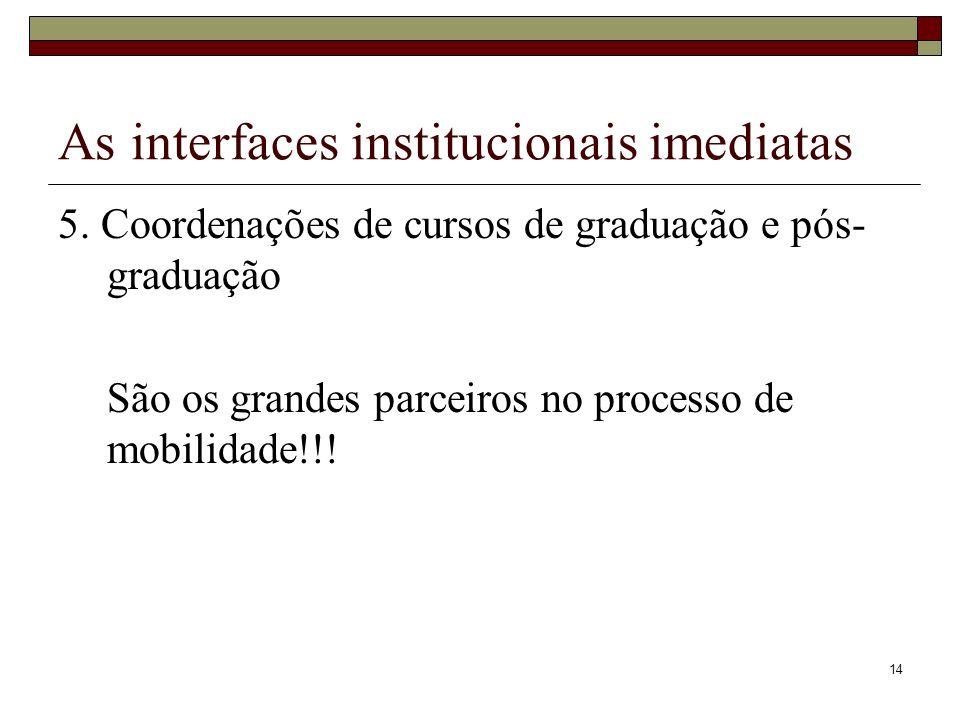As interfaces institucionais imediatas