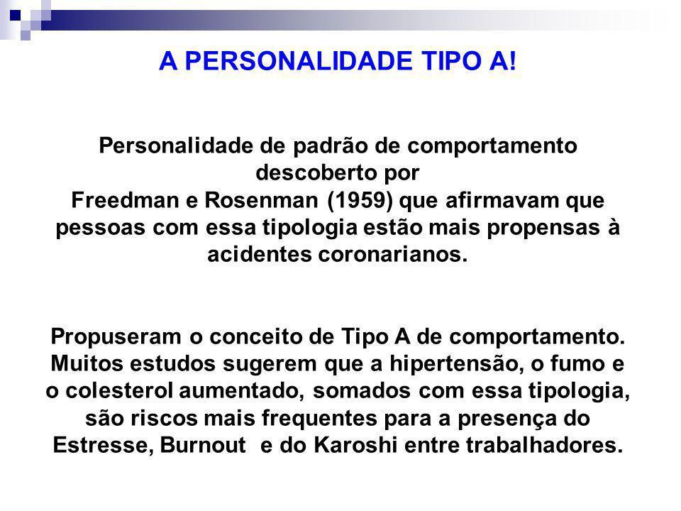 A PERSONALIDADE TIPO A! Personalidade de padrão de comportamento descoberto por.