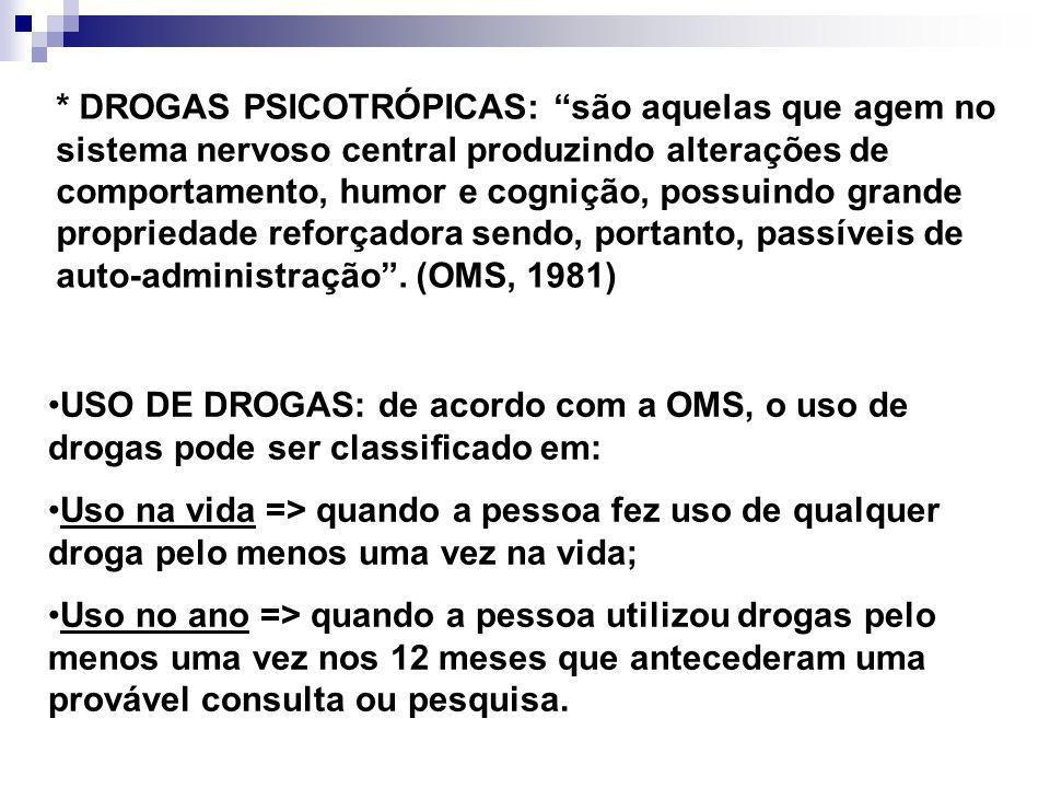 * DROGAS PSICOTRÓPICAS: são aquelas que agem no sistema nervoso central produzindo alterações de comportamento, humor e cognição, possuindo grande propriedade reforçadora sendo, portanto, passíveis de auto-administração . (OMS, 1981)
