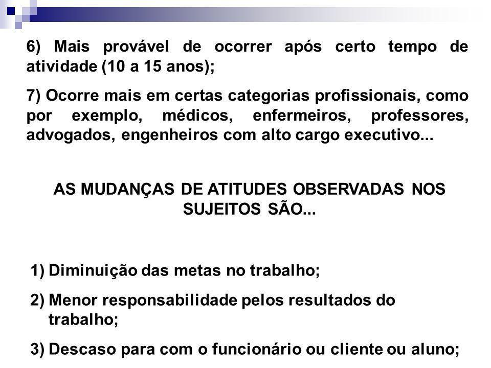 AS MUDANÇAS DE ATITUDES OBSERVADAS NOS SUJEITOS SÃO...