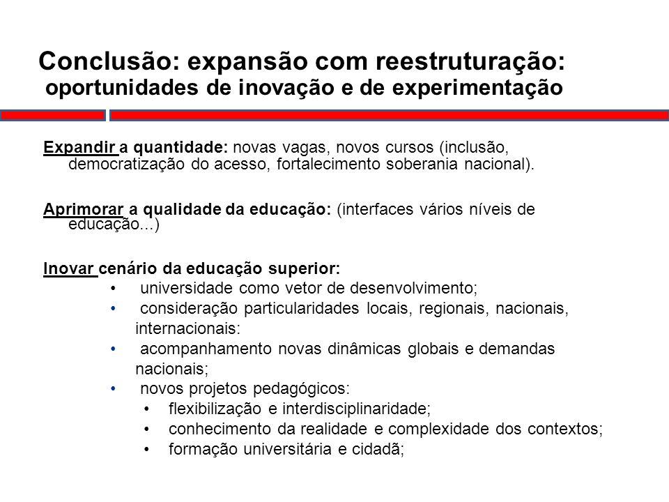 Conclusão: expansão com reestruturação: