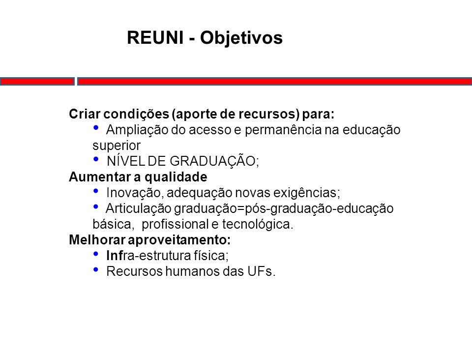 REUNI - Objetivos Criar condições (aporte de recursos) para: