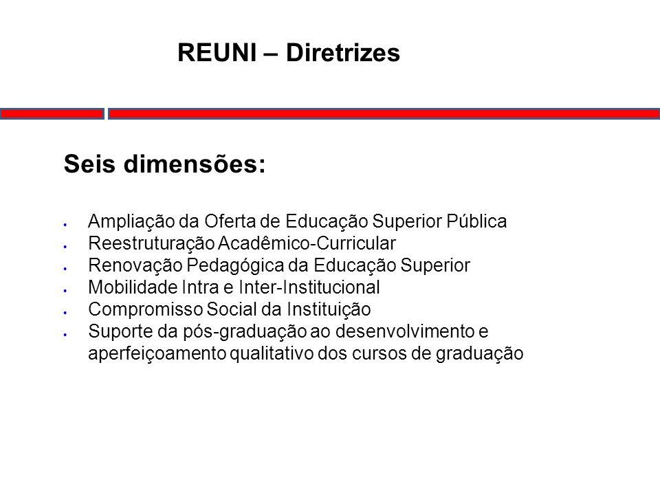 REUNI – Diretrizes Seis dimensões: